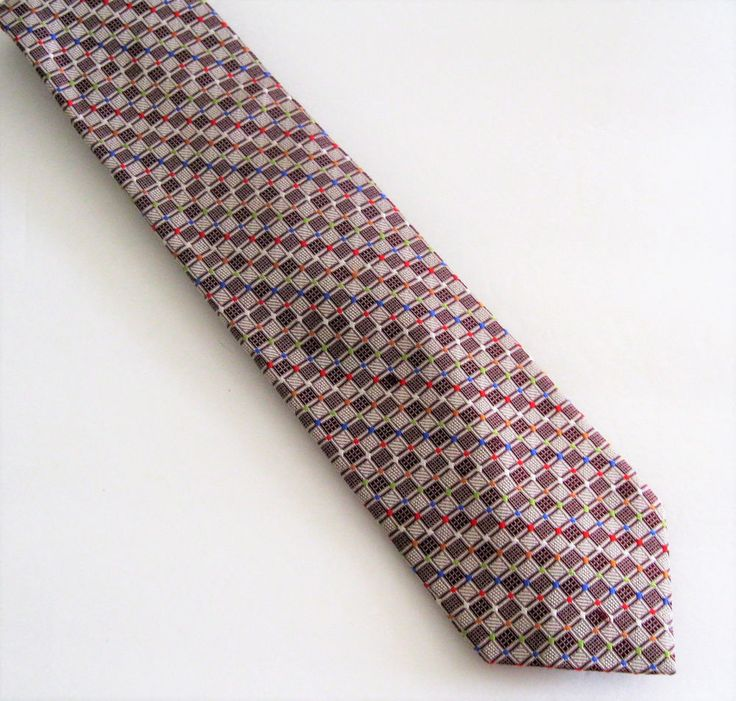 Bravini Brand Mens Neck Tie Silk Colorful Checkered Pattern Fathers Day Church  #Bravini #Tie