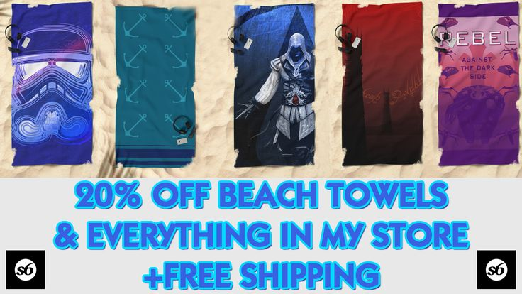 20% OFF + Free Shipping on beach Towels & Everything in my Store!!! sale ends onight 06-19-2017  #beachtowel #society6 #ezio #fantasy #movie #anchor #poptrooper #popart #freeshipping #discount #sales #save #discountgifts #cinemagifts #anchorbeachtowel  #gamer #gaming #gamergifts #gaminggifts #videogames #legendofzelda #geometricbeachtowel #summer2017 #scardesign #giftsforhim #giftsforher #beach #summergifts