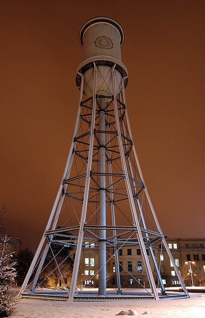 Marston Watertower, the oldest steel watertower west of the Mississippi River.  Iowa State University campus, Amers, Iowa // photo by Luke Healey, 2006