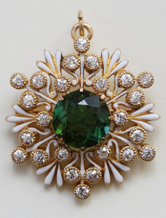 An antique gold, enamel, tourmaline and diamond Snowflake pendant / brooch, USA, circa 1900. Diameter: 3 cm. #antique #brooch #pendant