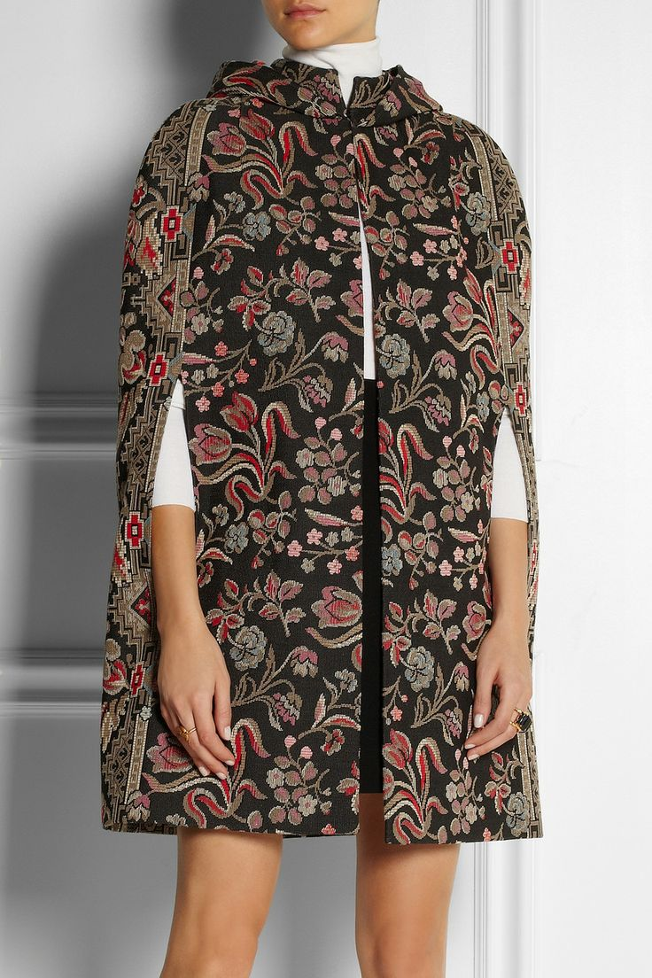 Valentino   Hooded cotton-blend tapestry cape   NET-A-PORTER.COM