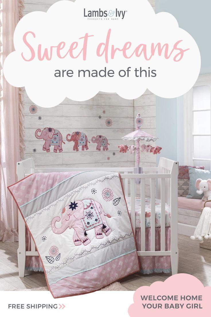 Five Pc Girls Baby Bedding Set .