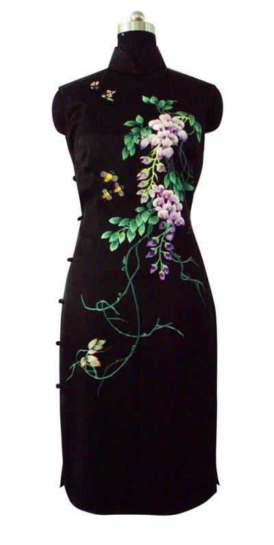 Black silk with wisteria embroidery cheongsam