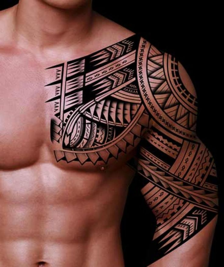 Get free Tribal Tattoo Ideas for Men on their Sleeves and chest in black color..