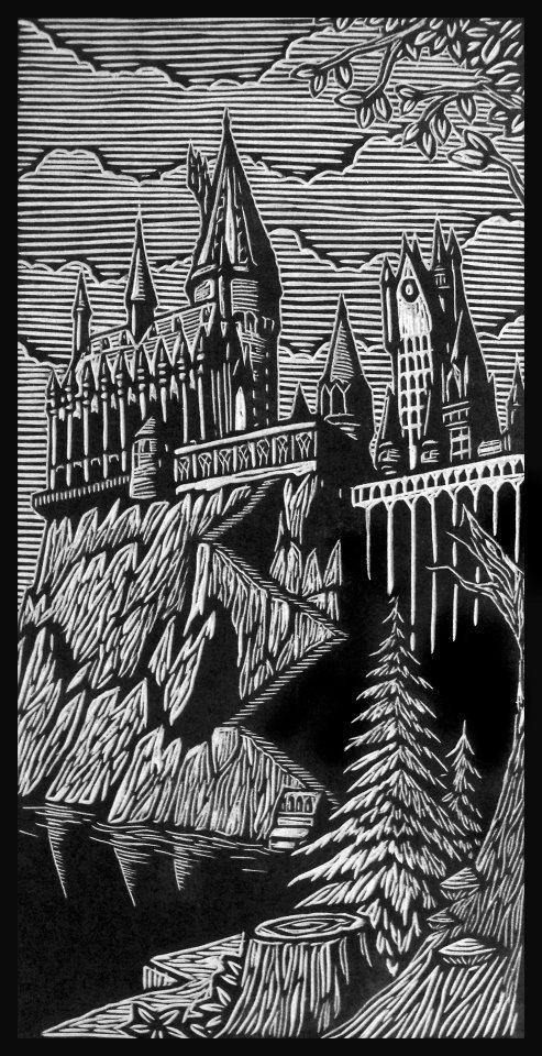 Brian Reedy ~ Hogwarts ~ Woodblock Print, 12 x 24 inch, rice paper