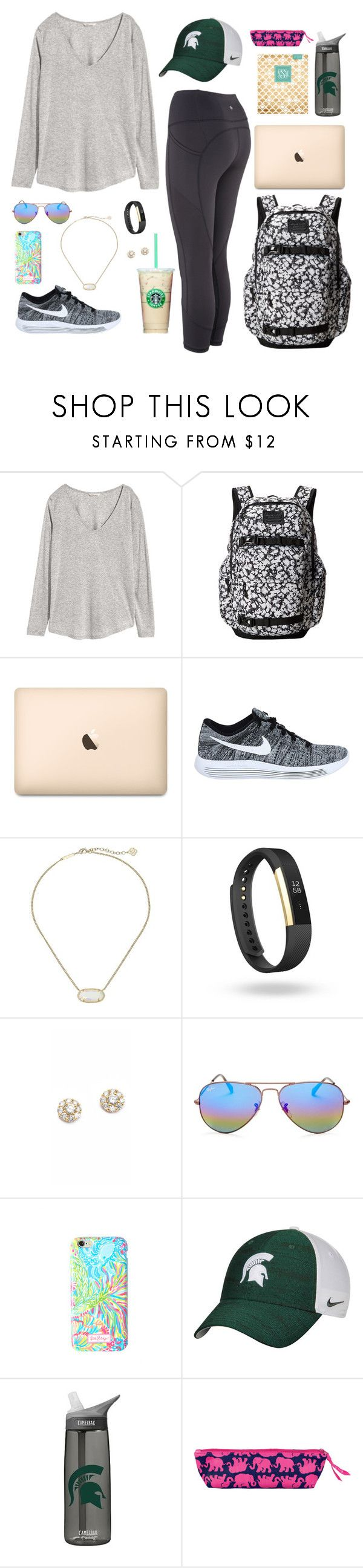 """""""Class Today"""" by jessica-taylor-722 ❤ liked on Polyvore featuring H&M, Burton, NIKE, Kendra Scott, Fitbit, Kate Spade, Ray-Ban and Lilly Pulitzer"""