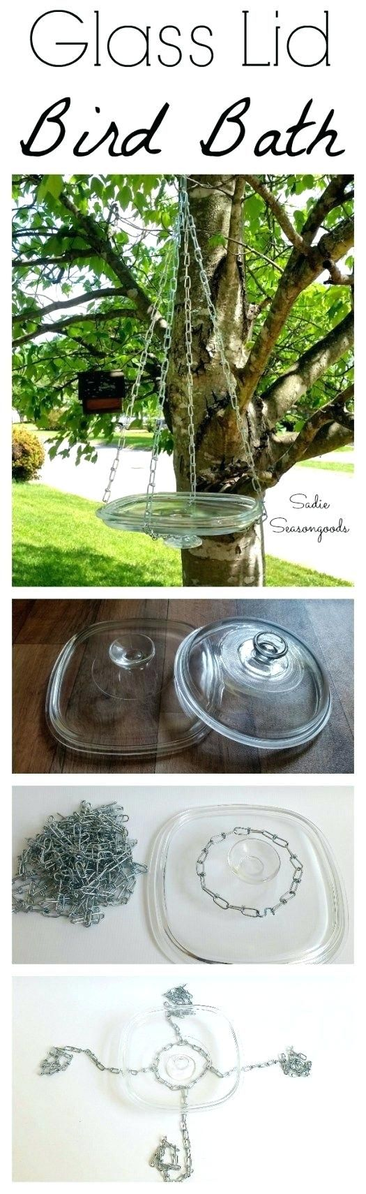 Bird Water Feeder Glass Casserole Dish Lids Are Always A Thrift Store Staple So Why Not Repurpose One Into A Diy Hanging Bird Bath Or Feeder With This Tutorial Humming Bird Feeder