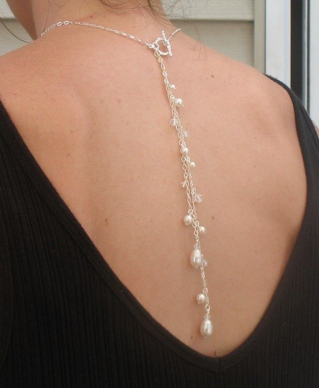 Back Drop Necklace with Pearls and by DeniseJewelryDesigns on Etsy, $36.00