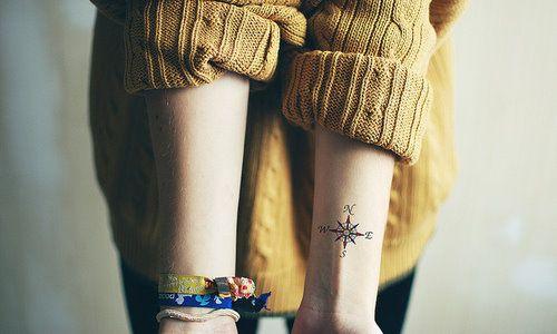 Татуировка на запястье компас