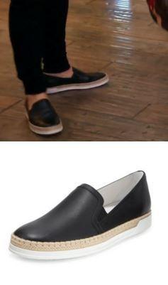 Kyle Richards' Black Leather Espadrilles http://www.bigblondehair.com/real-housewives/rhobh/kyle-richards-black-leather-espadrilles/