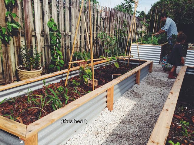 Ohdeardrea our raised beds easy metal wood garden bed how to diy household tips for Corrugated metal raised garden beds