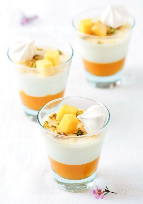 Mango & Vanilla Bean Buttermilk Panna Cottas by Tartelette