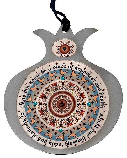 Colgante Granada RIMON-Rosh Hashana año nuevo judío casa de bendición el 14 * 12cm acero inoxidable hecho a mano del metal de acero con Swarovski piedras dr21