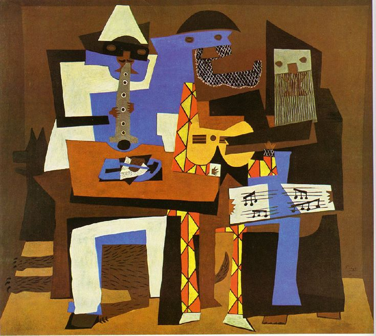 """Three Musicians, 1921 by Pablo Picasso. """"Three Musicians is an example of Picasso's Cubist style. In Cubism, the subject of the artwork is transformed into a sequence of planes, lines, and arcs. Cubism has been described as an intellectual style because the artists analyzed the shapes of their subjects and reinvented them on the canvas...."""""""