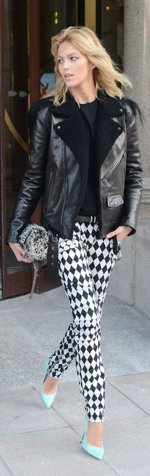 Rockstar chic , leather jacket, Balmain printed black & white graphic jeans