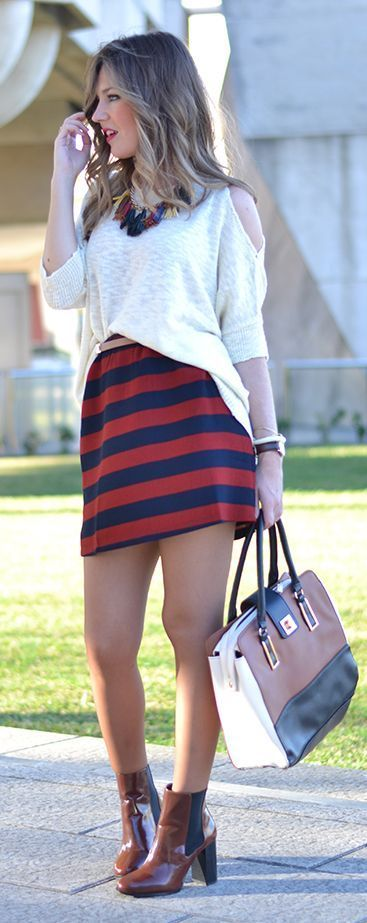 Burgundy, Navy And Beige Inspiration Outfit by Mi Aventura Con La Moda