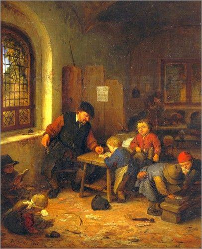 """Interior of a Schoolroom"", 1666. Adriaen Jansz. van Ostade (1610–1685), Dutch painter."