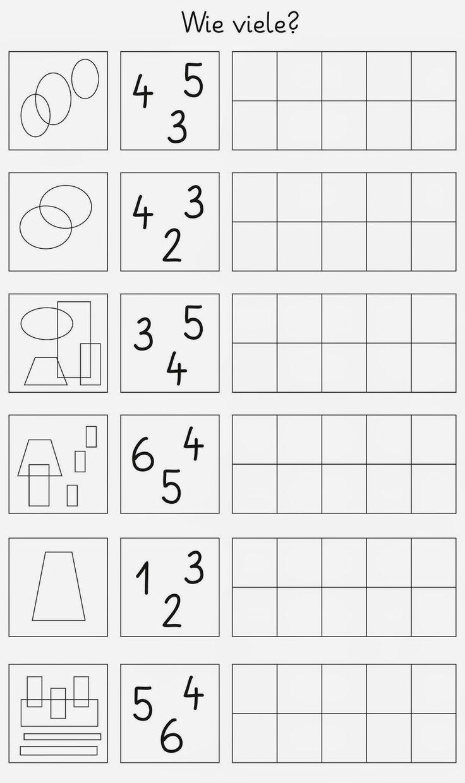 ich brauche noch Material zum Fördern...     die Mengen bis 6 sind zu erkennen,   die passende Zahl einzukreisen   und dann soll sie gesch...
