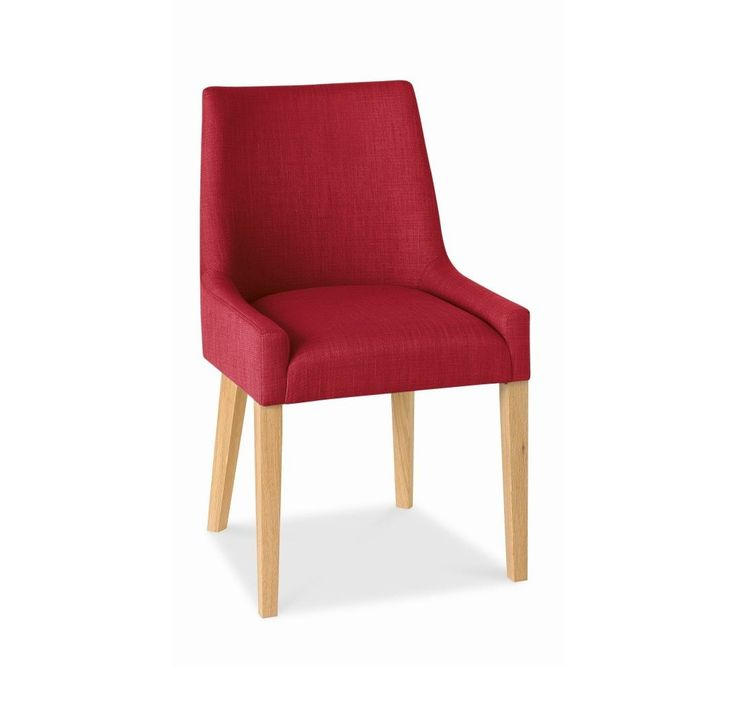 Alex Red Upholstered Dining Chair With Oak Legs