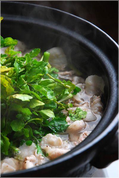 暑くとも絶品クレソン鍋でさっぱりハフハフと♪ | ご飯ですよ