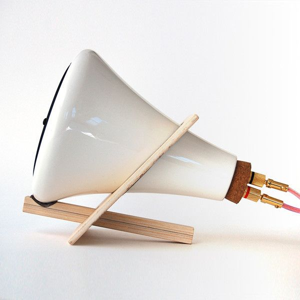Porcelain Speaker with wooden base by Joey Roth.