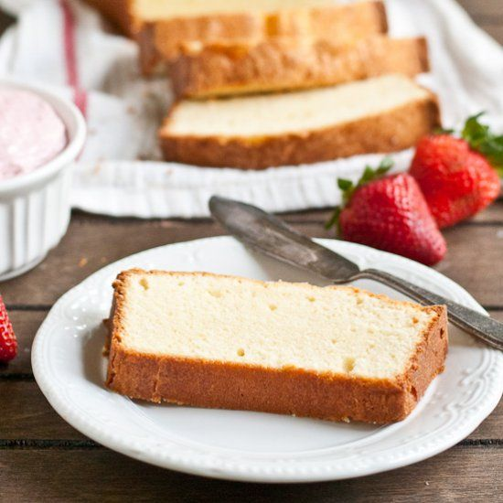My mom's Cream Cheese Pound Cake is an easy, foolproof recipe that delivers golden loaves every time. Perfect with fresh summer berries!