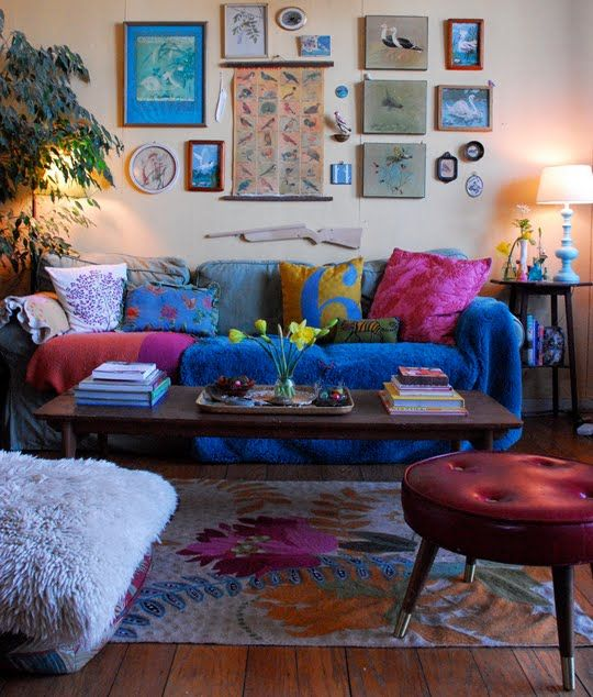 Bohemian Interiors - love this room. Wish I had that footstool.