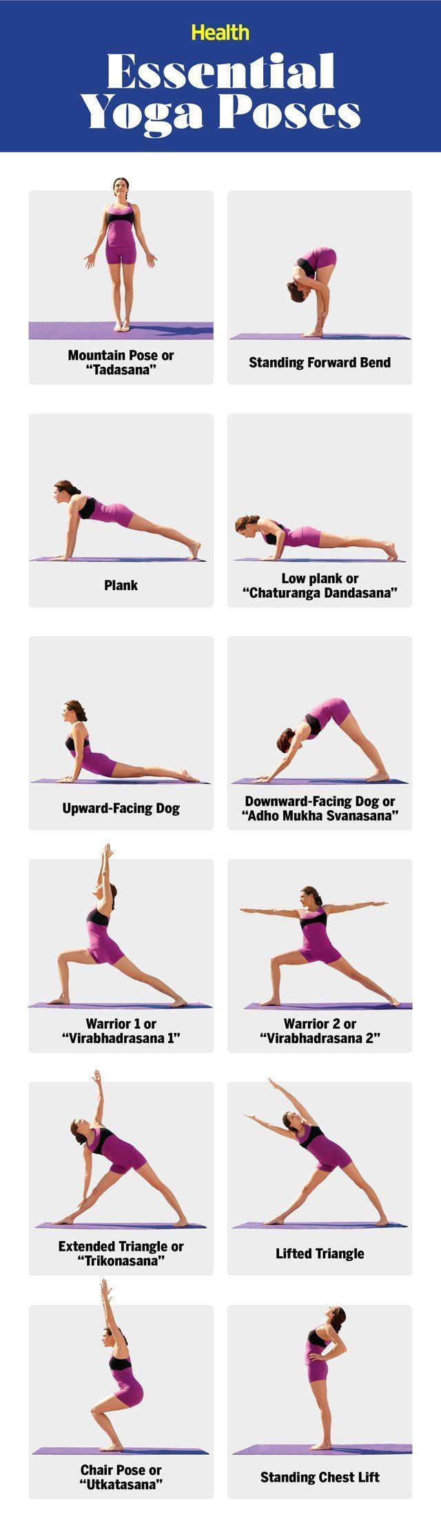 Essential yoga poses everyone should know: Here are 23 terms you will probably hear within your first few yoga classes. | Health.com