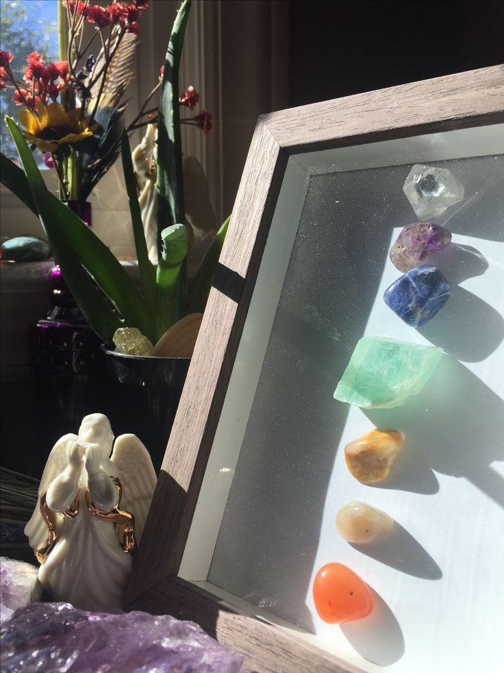 Chakra stone shadow box craft. Meditation room. Prayer room.