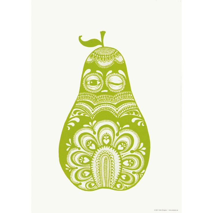 Poster Folkloric Pear, grön från Mini Empire – Köp online på Rum21.se