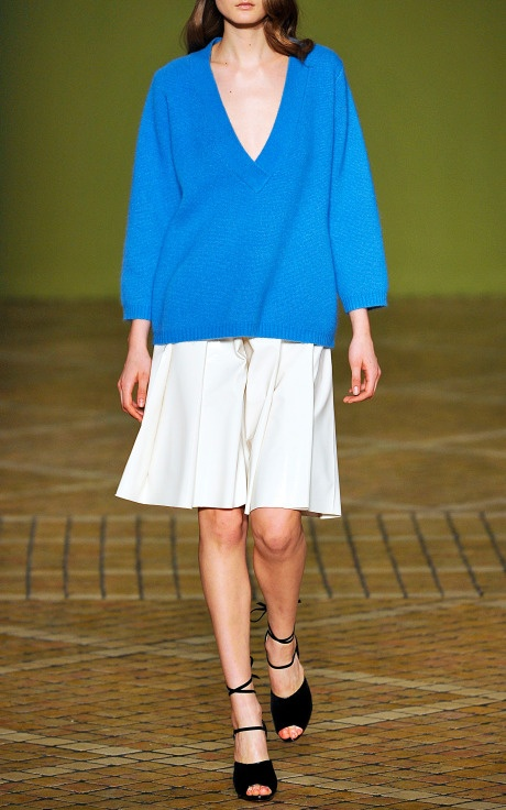 Jonathan Saunders Poppy v-neck sweater in Sky Blue and Clarence pleated vinyl skirt in Cream, FW 2013. via Moda Operandi