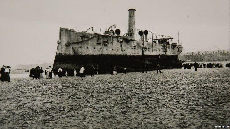 The Fearless (Ottowa) fismantled on Rhyl beach 1906