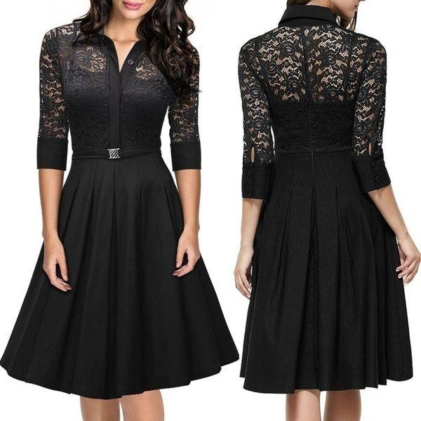 fashion 3 4 sleeve lace skirt retro hepburn style stitching dress