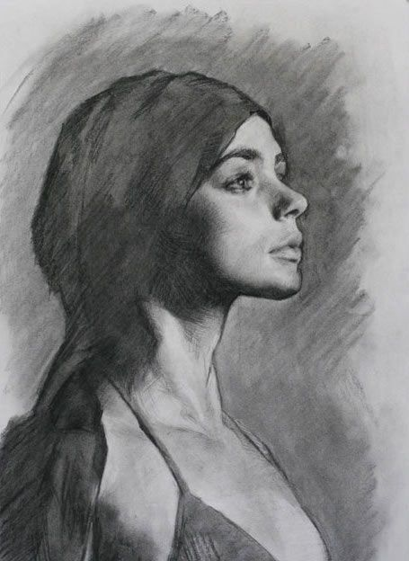 Portrait drawing technique with charcoal, Louis Smith