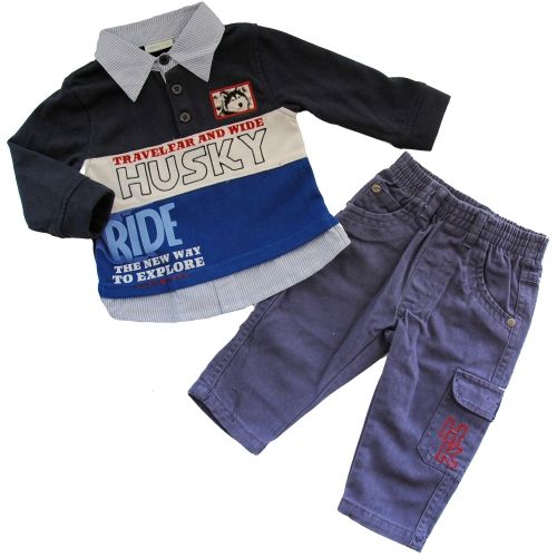 Completo Neonato Polo e Pantalone Mod.Husky #babies #baby #babyfashion #stripes