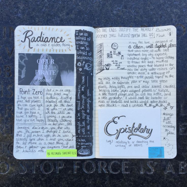 Journal pages at Jenny Holzer's Green Table // USING FORCE TO STOP FORCE IS ABSURD
