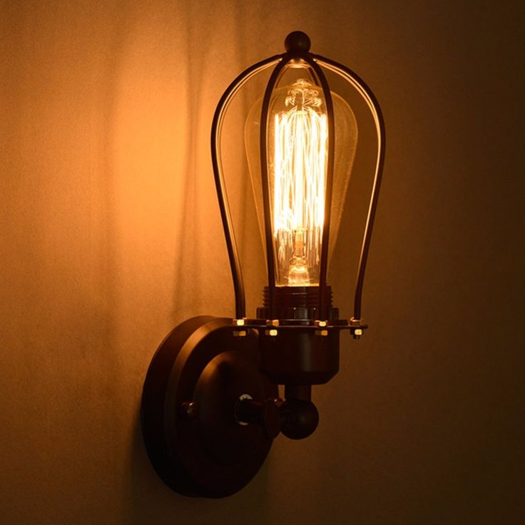 22.49$  Buy here - http://ali4ux.shopchina.info/go.php?t=32793897679 - 1 Bulb+Nordic Retro Wall Lamp Bedside Light Wrought Iron Lamps Shade American Country Style Restaurant Bar Industrial Warehouse  #buyininternet