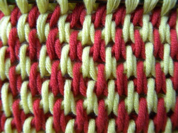 Tunesisch Häkeln - Füllstich - zweifarbig
