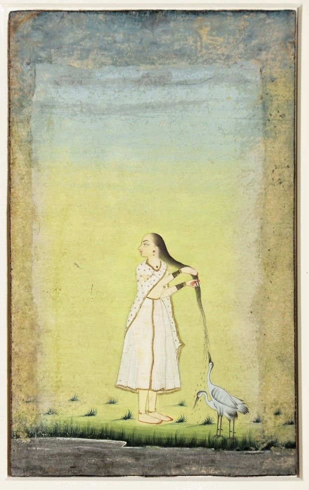 A woman lets cranes drink water cascading from her hair. Najar picture by Abu'l Kasim, India. ca. 1800.