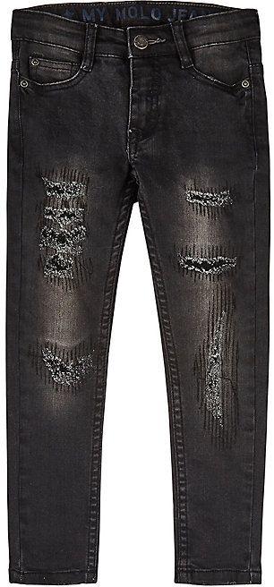 Molo Kids Distressed Stretch-Cotton Jeans