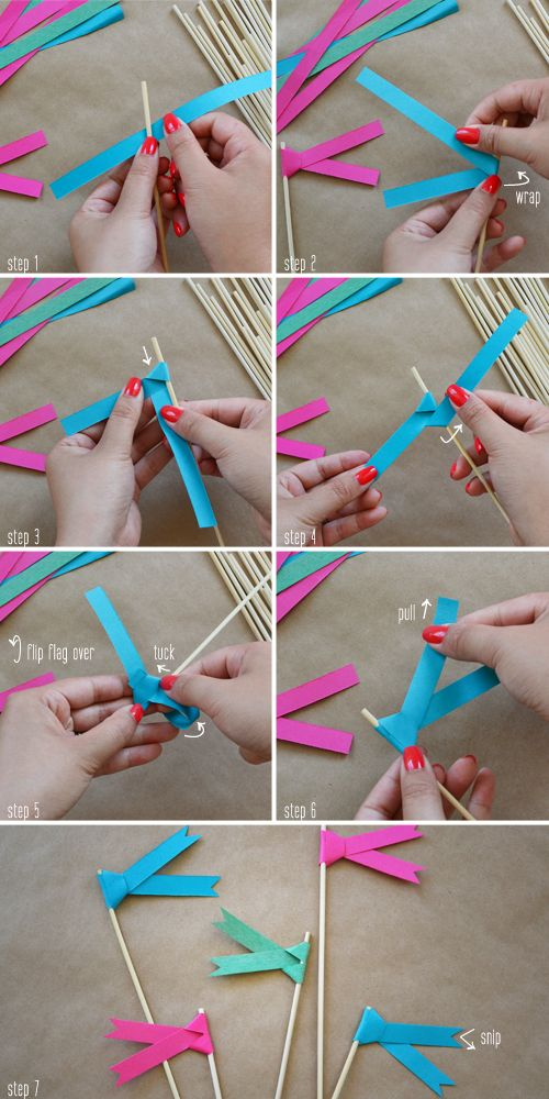 Paper ribbon flags DIY