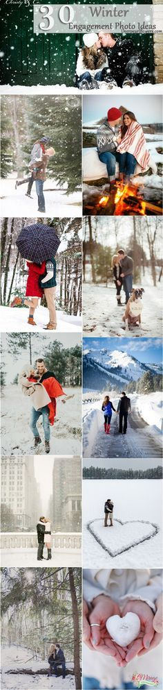 Winter Engagement Photo Shoot and Poses Ideas / http://www.deerpearlflowers.com/winter-engagement-photo-ideas/