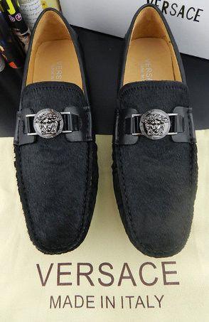VERSACE men's fashion America horsehair cowhide Neri Peas shoes