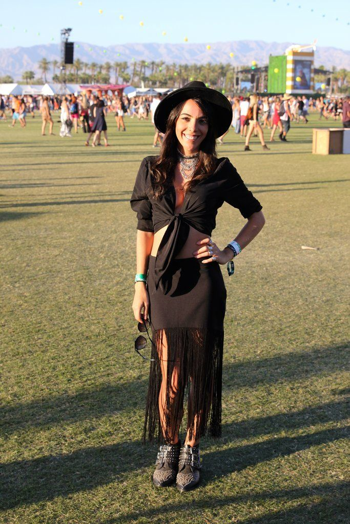 A Zara fringe skirt was the jumping-off point for an-all black look that we'd like to call Coachella chic.
