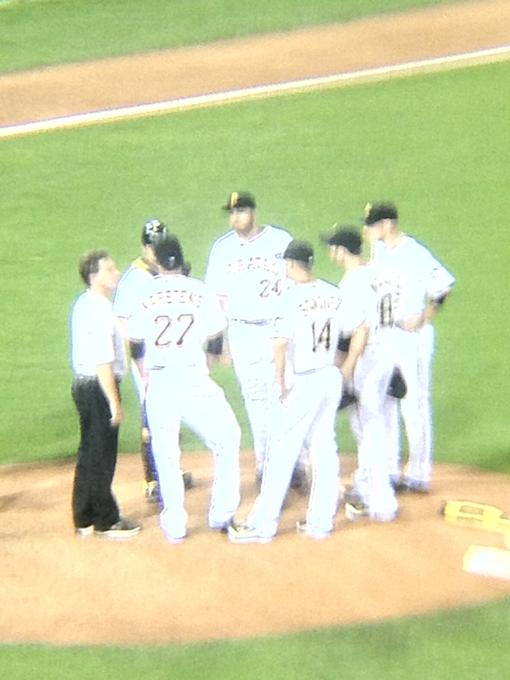 Pirates huddling at pitcher mound, top of 8th inning vs Brewers: 8Th Inning, Pittsburgh Pirates, Pitchers Mounds, Pirates Huddl