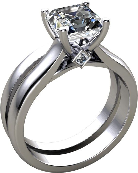 Asscher Cut Cathedral Style Wedding Set Available In 14K, 18K and Platinum. Agape Diamonds. Lab created diamonds. Man made diamonds. Wedding. Engagement ring. Wedding ring. Bridal. Gold. Platinum. Diamond. Simulated diamond.