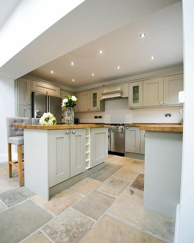 Good morning #kitchen #kitchendesign #shakerkitchen #countrykitchen #kitchenisland #kitchenideas #greykitchen #oakworktops #belfastsink #stonefloor #ihavethisthingwithfloors #littlegreene #slakedlime #lights #interiors #interiorstyling #interiorsofinstagram #interiordecor #flowers #hydrangea #yorkstone #reclaimed #homedecor #homeideas #homestyle #home #victorian #farrowandball #myhomevibe #interior4all Photography: @adepalma