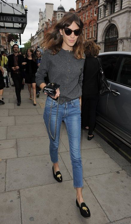 Alexa Chung, easy simple style, denim, gray, black, velvet loafers, cardigan, cat eyes, Chanel