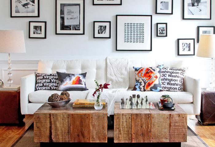 tables basses carrées dans un petit salon design