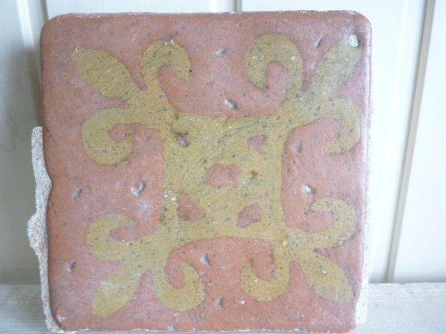 Antique Medieval encaustic tile fleur de lys design ancient floor tile clay tile antique gothic tile by VintageFrenchStore on Etsy